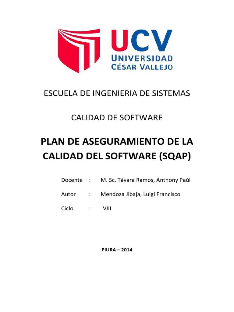 TRABAJO N°2 - Plan de Aseguramiento de la Calidad del Software SQAP