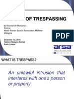 The Law of Trespassing