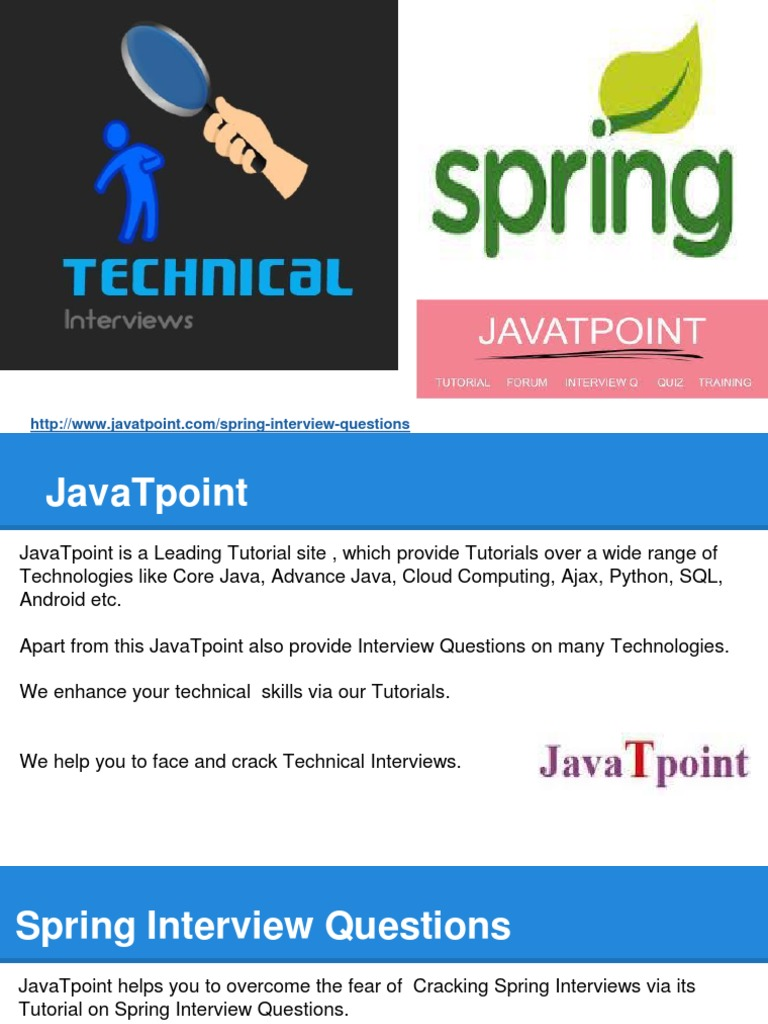 Spring Framework Interview Questions Javatpoint   Allcanwear org