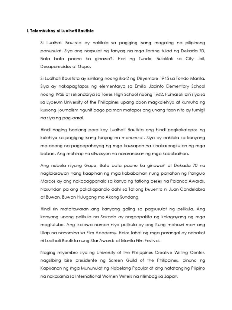 Myke ⁓ Top Ten Gapo Lualhati Bautista Summary