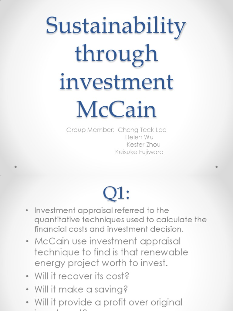 Mccain foods sustainability through investment calculator cndp investments cc sabathia