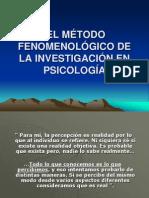 El Método Fenomenológico de La Investigación en Psicología
