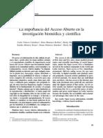 Acceso Abierto. Importancia para Revistas Biomédicas. Medicina