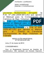Derogatoria Manuales de Bajo Volumen de Tránsito MTC