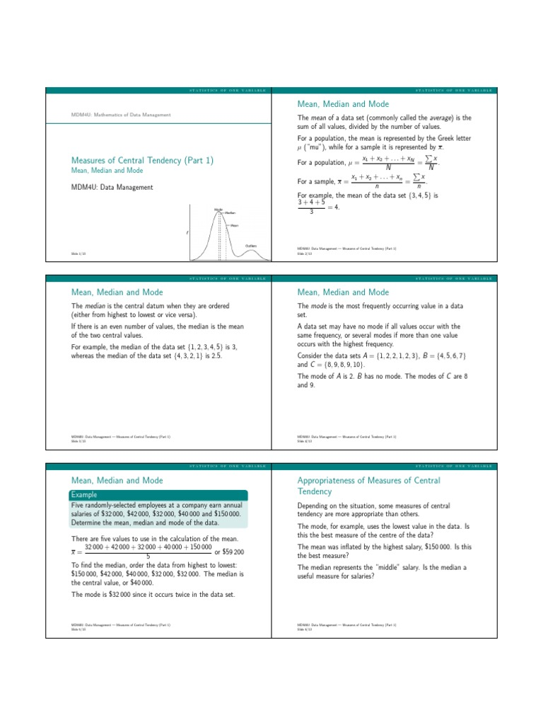 Mean Median Mode Handout | Mean | Median