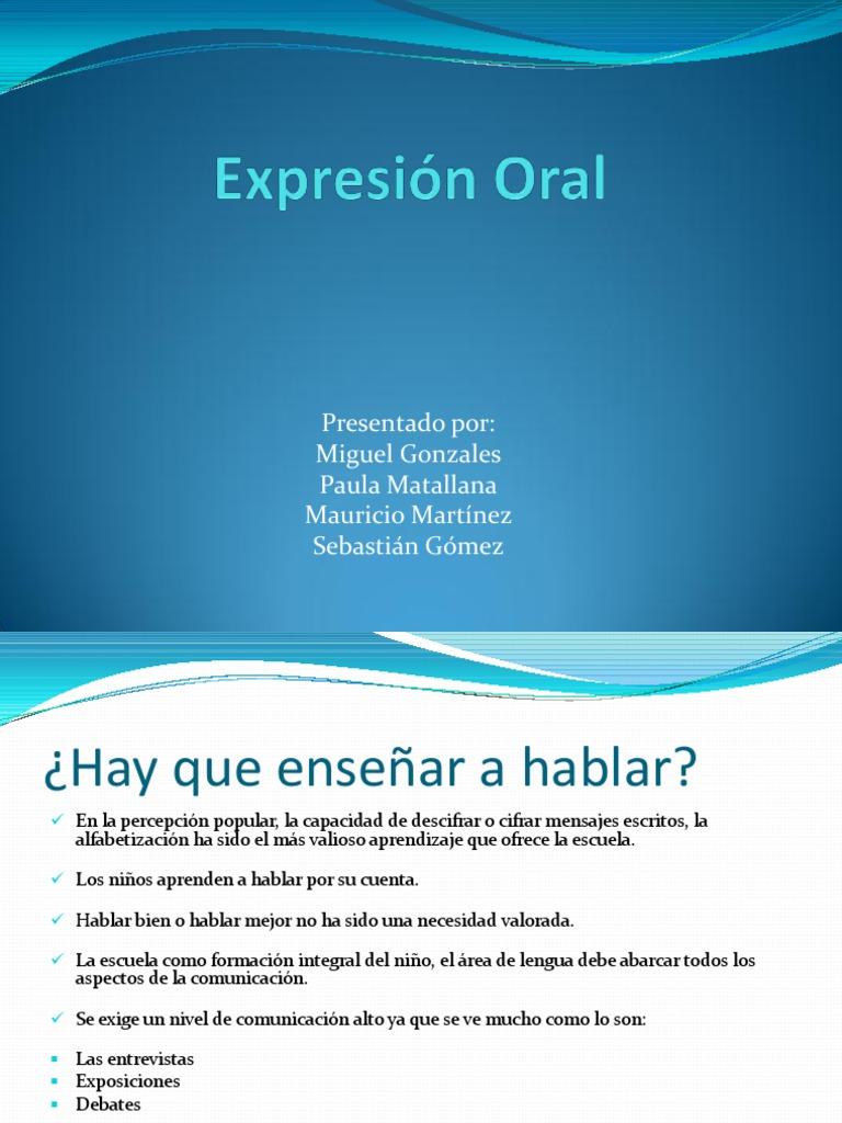 Expresi U00f3n Oral  Extraido Del Libro Ense U00f1ar Lengua De