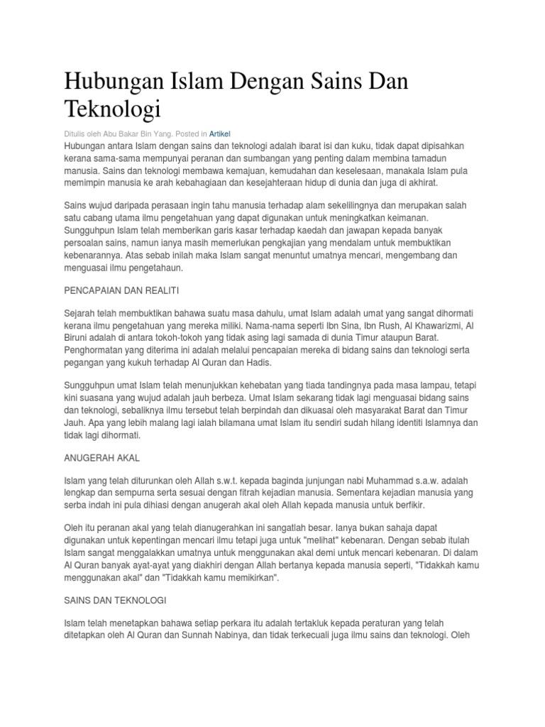 Hubungan Islam Dengan Sains Dan Teknologi Ditulis Oleh Abu Bakar Bin Yang Posted In