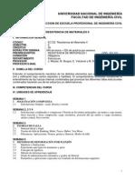Sílabo Resistencia de Materiales II - 2014-II