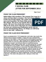 Sept 2014 Newsletter