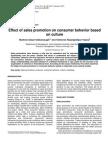 Effect of Sales Promotioseen on Consumer Behaviour
