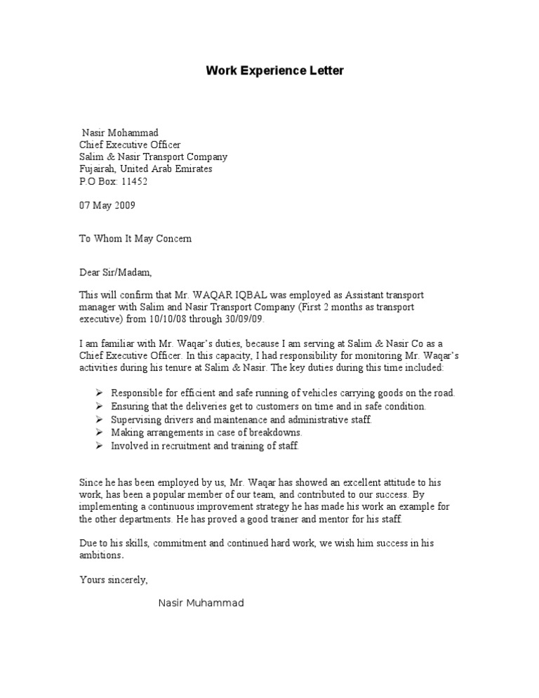 Experience letter sample pertamini experience letter sample yelopaper Image collections
