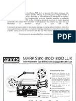 Eumig Projector Mark S 810 810D 810D LUX User Manual