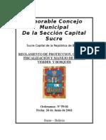 Reglamento de Proteccion, Contro, Fiscalizacion y Manejo de Areas Verdes y Bosques