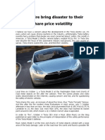Tesla Fire Bring Disaster to Their Share Price Volatility1