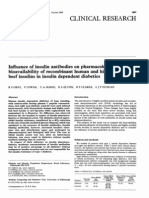 Influence of insulin antibodies on pharmacokinetics and bioavailability of recombinant human and highly purified beef insulins in insulin dependent diabetics