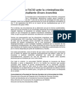 Declaración de apoyo Álvaro Arancibia, estudiante de Facso
