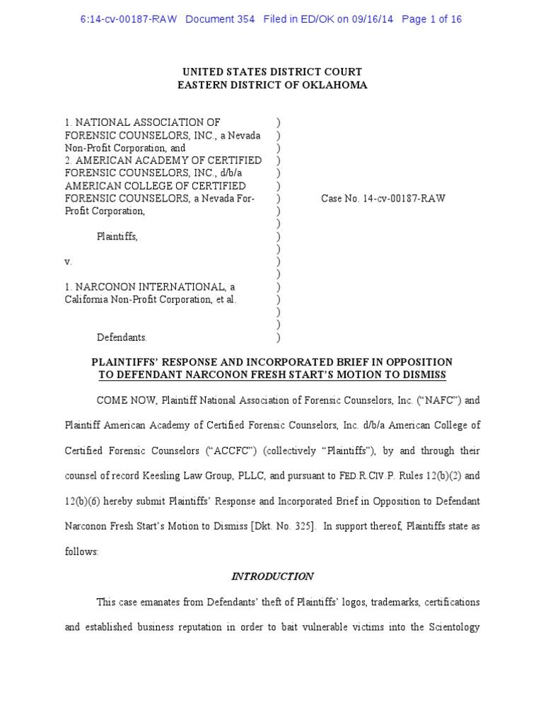 Nafc V Narconon Plaintiffs Response Narconon Fresh Starts Motion