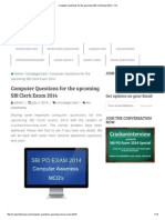 Computer Questions for the Upcoming SBI Clerk Exam 2014 - CAI