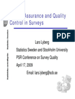 Lars Lyberg Quality Assurance and Control