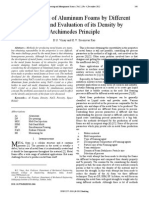 Development of Aluminum Foams by Different Methods and Evaluation of its Density by Archimedes Principle