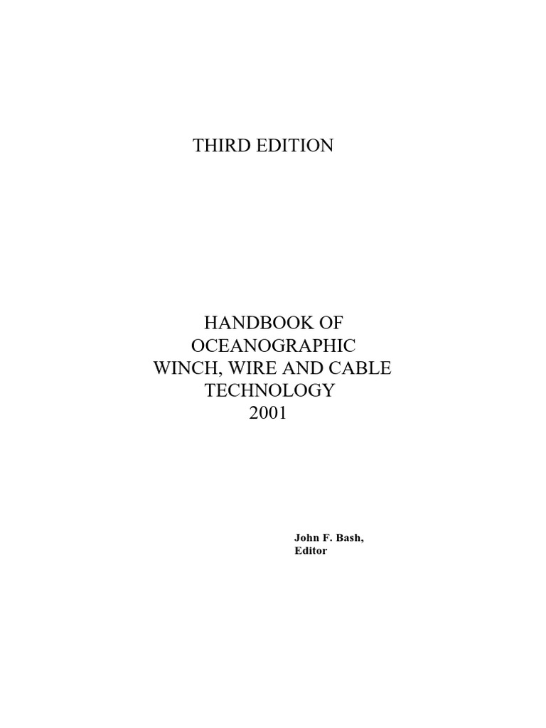 Handbook Of Oceanographic Winch Wire And Cable Technology Ibm 1620 Programming Manual On Physical Terminal Block Wiring Diagram Inductor Transformer