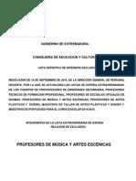 Excluidos en La Lista de Espera Extraordinaria de Profesores de Música y Artes Escénicas 2014-2015