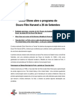 COMUNICADO DE IMPRENSA   DOURO FILM HARVEST - OLIVER STONE ABRE O PROGRAMA