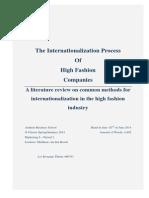 The Internationalization Process of High Fashion Companies