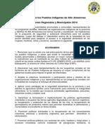 Declaración de Los Pueblos Indígenas de Alto Amazonas