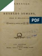 HEINECCIO Johann (1829) Elementos Derecho Romano