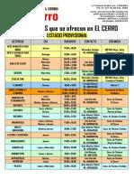 Listado PROVISIONAL de Actividades en el Centro Cívico El Cerro de Coslada 2014-2015