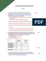 English Reading Test Ks3 2004