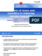 The role of taxes and  transfers in reducing  income inequality