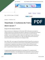 Alakhbar | Mauritanie_ L'exclusion des Noirs peut - elle durer encore