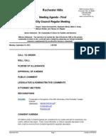 Rochester Hills City Council agenda Sept. 22, 2014