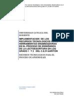 Implementacion de Los Recursos Tecnologicos en El Proceso de Enseñanza de La Lectoescritura en La Basica Primaria Del Cer Gariton