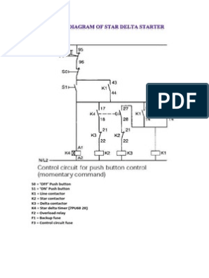Typical Circuit Diagram of Star Delta Starter | Relay | EquipmentScribd
