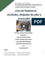Practica de Limpieza Al Ventilador, Disipador de Calor y Procesador.