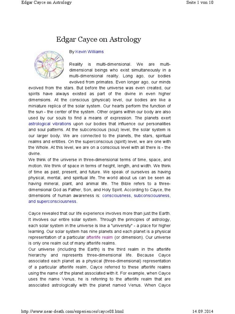 Edgar Cayce - Astrologie | Afterlife | Endocrine System