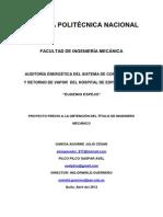 Auditoria Energetica Del Sistema de Condensacion y Retorno de Vapor Del Hospital de Especialidades-eugenio Espejo