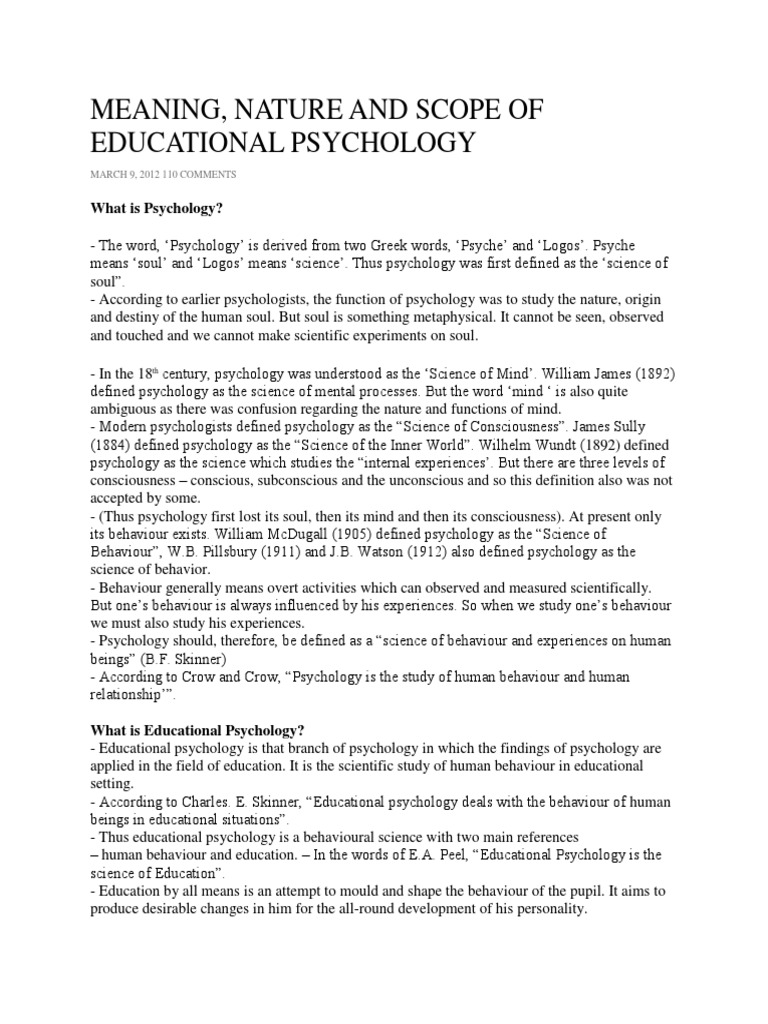 meaning of educational psychology | educational psychology