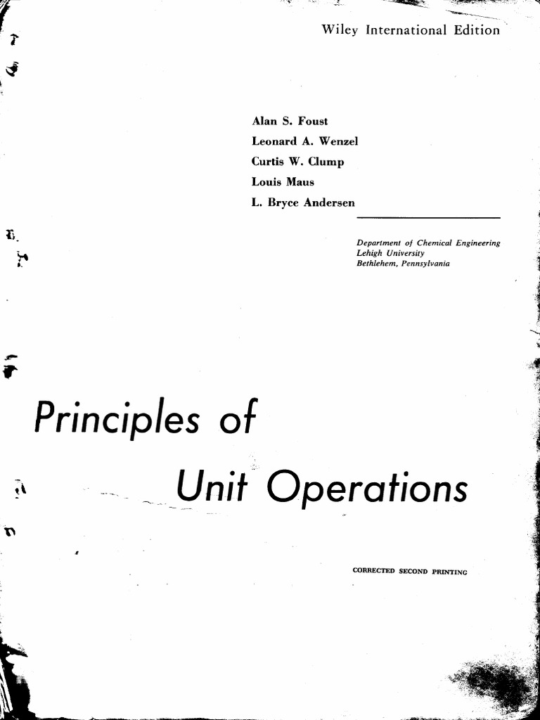 Faust Principles Of Unit Operation Second Edition Phase Matter Vapor