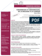 Thromboses Et Hémorragies, De La Biologie à La Clinique 2014-201 (2)