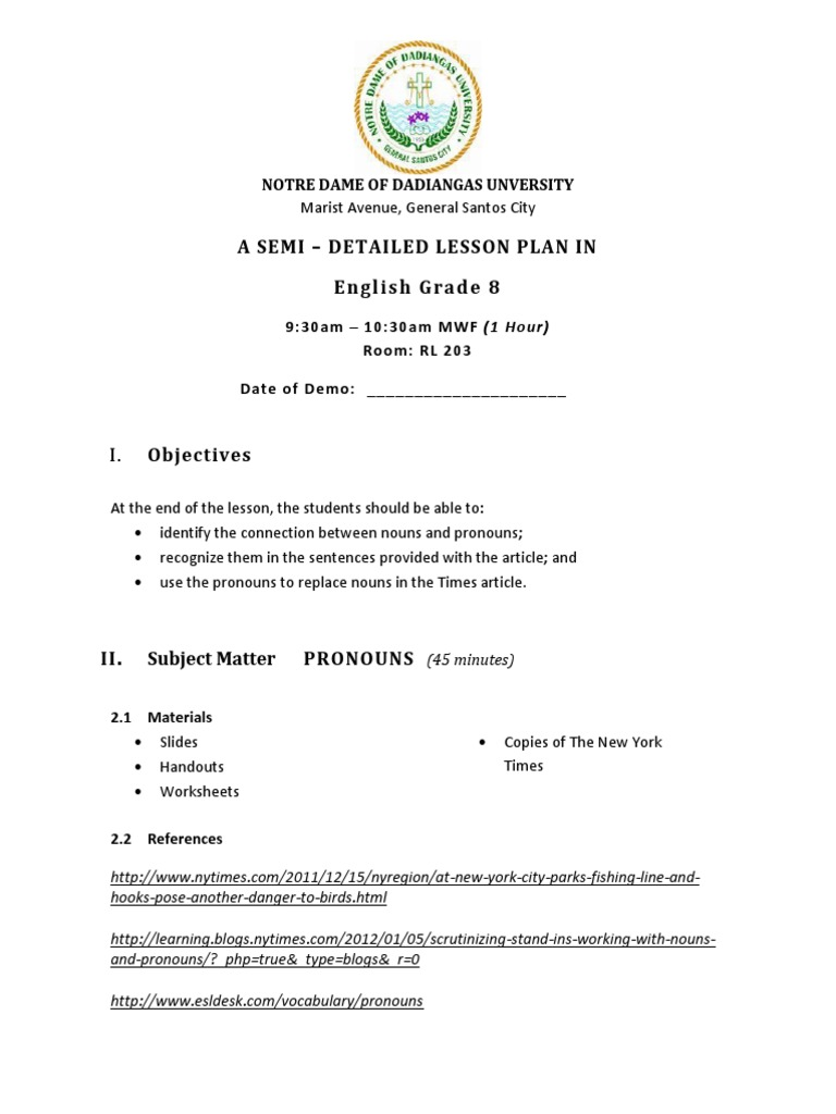 worksheet Reflexive And Intensive Pronouns Worksheet semi detailed lesson plan in english grammatical gender semiotics