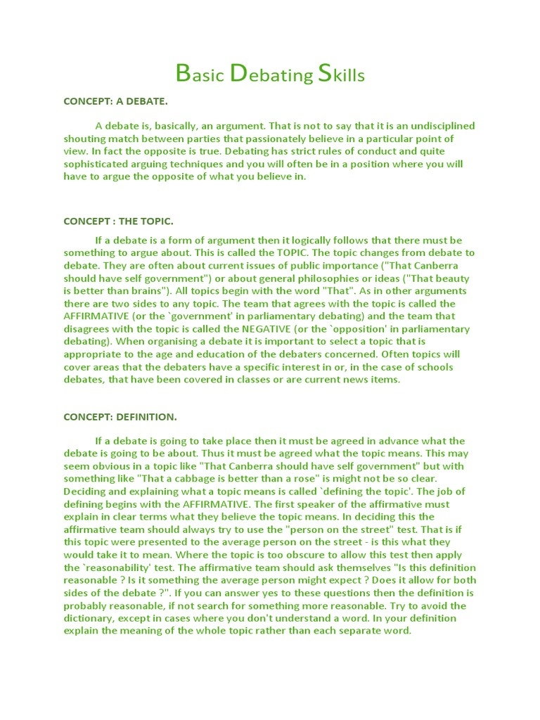 Elegant Basic Debating Skills | Definition | Argument