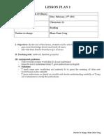 Lesson Plan 1, Model Unit 12, Reading