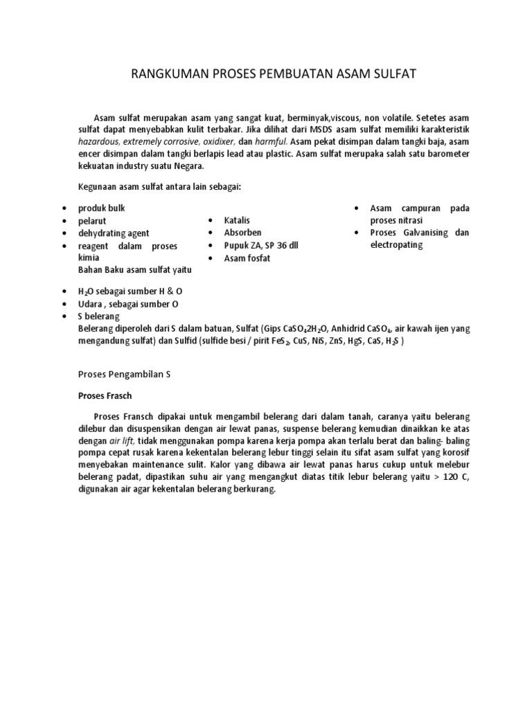 Rangkuman proses pembuatan asam sulfat 1532563543v1 ccuart Images