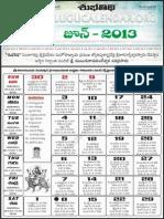 2013 Telugucalendar June Print