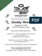 Sunday Lunch Menu 21092014