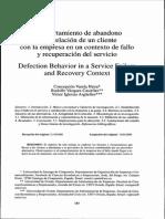 Comportamiento de Abandono de la relación de un cliente con la empresa en un contexto de fallo y relación de servicio